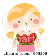 Kid Girl Eating Watermelon Illustration