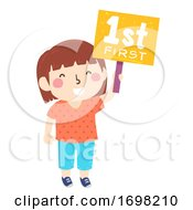 Kid Girl First Sign Illustration