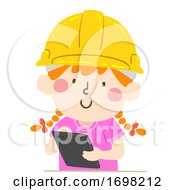 Kid Girl Hard Hat Tablet Illustration