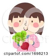 Poster, Art Print Of Kid Girl Hold Beets Superfood Illustration