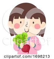 Kid Girl Hold Beets Superfood Illustration