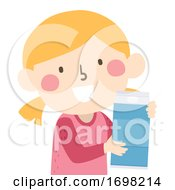Kid Girl Liter Container Quantities Illustration