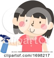 Kid Girl Hold Spray Bottle Container Quantities