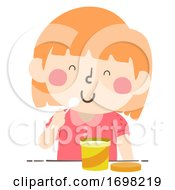 Poster, Art Print Of Kid Girl Tub Container Quantities Illustration
