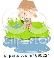 Kid Girl Wetland Explore Observation Illustration