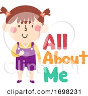 Kid Girl All About Me Illustration