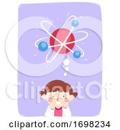 Kid Girl Think Atom Science Illustration