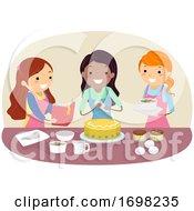 Stickman Teens Girls Friends Baking Illustration