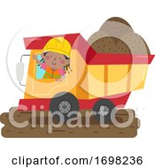 Kid Girl Construction Dump Truck Illustration
