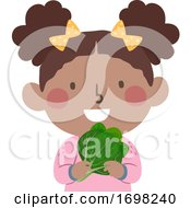 Kid Girl Spinach Super Food Illustration