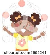 Kid Girl African Juggle Ball Illustration