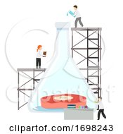 Poster, Art Print Of Scientists Study Meat Glass Flask Illustration