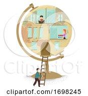 Poster, Art Print Of Miniature People Globe Building Illustration