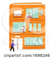 Miniature People Book Building Illustration