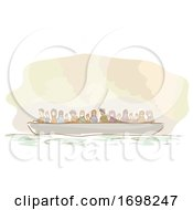 War Victims Refugee Boat Illustration