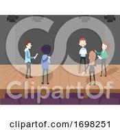 People Script Line Rehearsal Stage Illustration