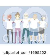Poster, Art Print Of People Reunion White Shirts Illustration
