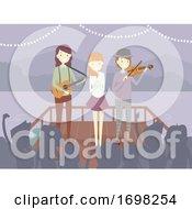 Poster, Art Print Of People Perform Lake Audience Illustration