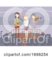 People Perform Lake Audience Illustration