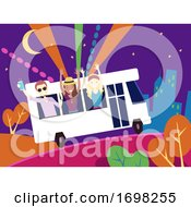 Poster, Art Print Of People Party Bus Design Illustration