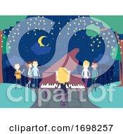 People Night Garden Piano Scene Illustration