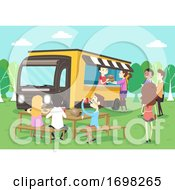 Poster, Art Print Of People Food Truck Park Bench Eat Illustration