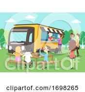 People Food Truck Park Bench Eat Illustration