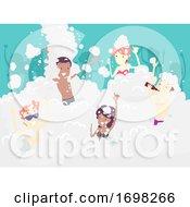 Poster, Art Print Of People Foam Party Fun Beer Illustration