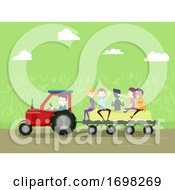 People Farm Truck Hay Ride Illustration