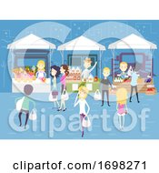 Poster, Art Print Of People Downtown Independent Market Illustration