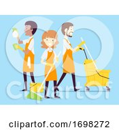People Cleaning Crew Job Illustration