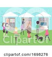 Poster, Art Print Of People Art Walk Stalls Park Illustration