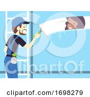 Man Window Washer Job Illustration