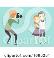 Man Photographer Couple Shoot Illustration