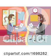 Girl Online Job Interview Illustration