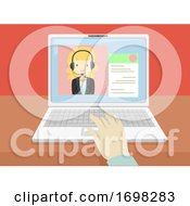 Girl Laptop Online Interview Hand Illustration