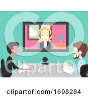 Poster, Art Print Of Girl Group Video Interview Illustration