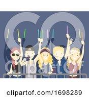 Poster, Art Print Of Teens Crowd Light Stick Festival Illustration