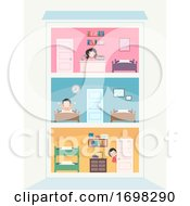 Teens Building Rooms Illustration
