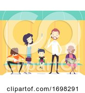 People Using Mobile Phone Bus Stop Illustration