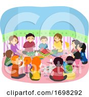 Stickman Family School Activity Illustration