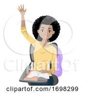 Teen Girl African Raise Hand Class Illustration