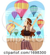 Teen Girl Festival Hot Air Balloon Illustration