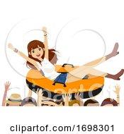Teen Girl Music Festival Boat Illustration