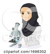 Teen Girl Qatar Student Microscope Illustration