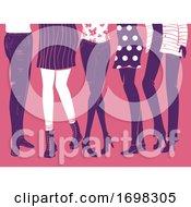 Poster, Art Print Of Girls Group Feet Flat Fashion Illustration