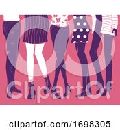 Girls Group Feet Flat Fashion Illustration