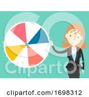 Poster, Art Print Of Girl Work Play Wheel Spinner Game Illustration