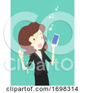 Girl Icebreaker Mobile Karaoke Illustration