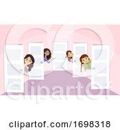 Teen Girls Dorm Welcome Doors Illustration